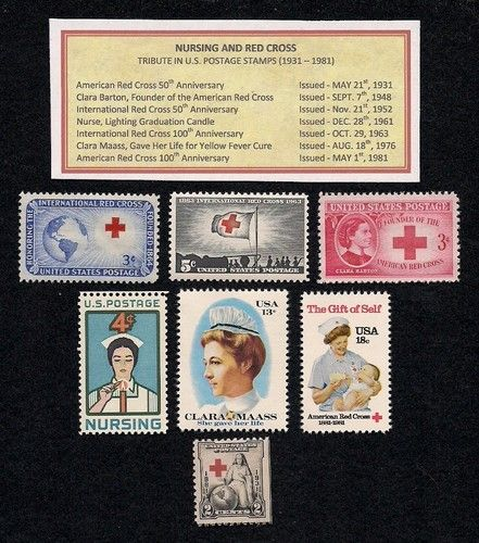 Nursing And Red Cross Complete Set Of Vintage Mint Never Hinged