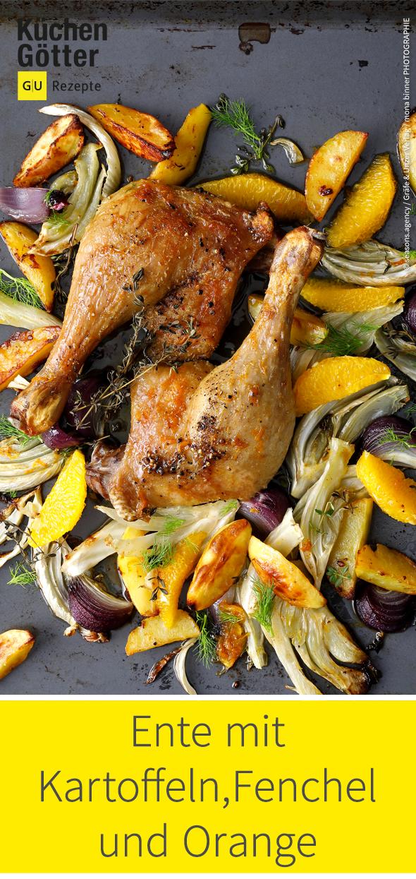 Ente mit Kartoffeln, Fenchel und Orange vom Blech
