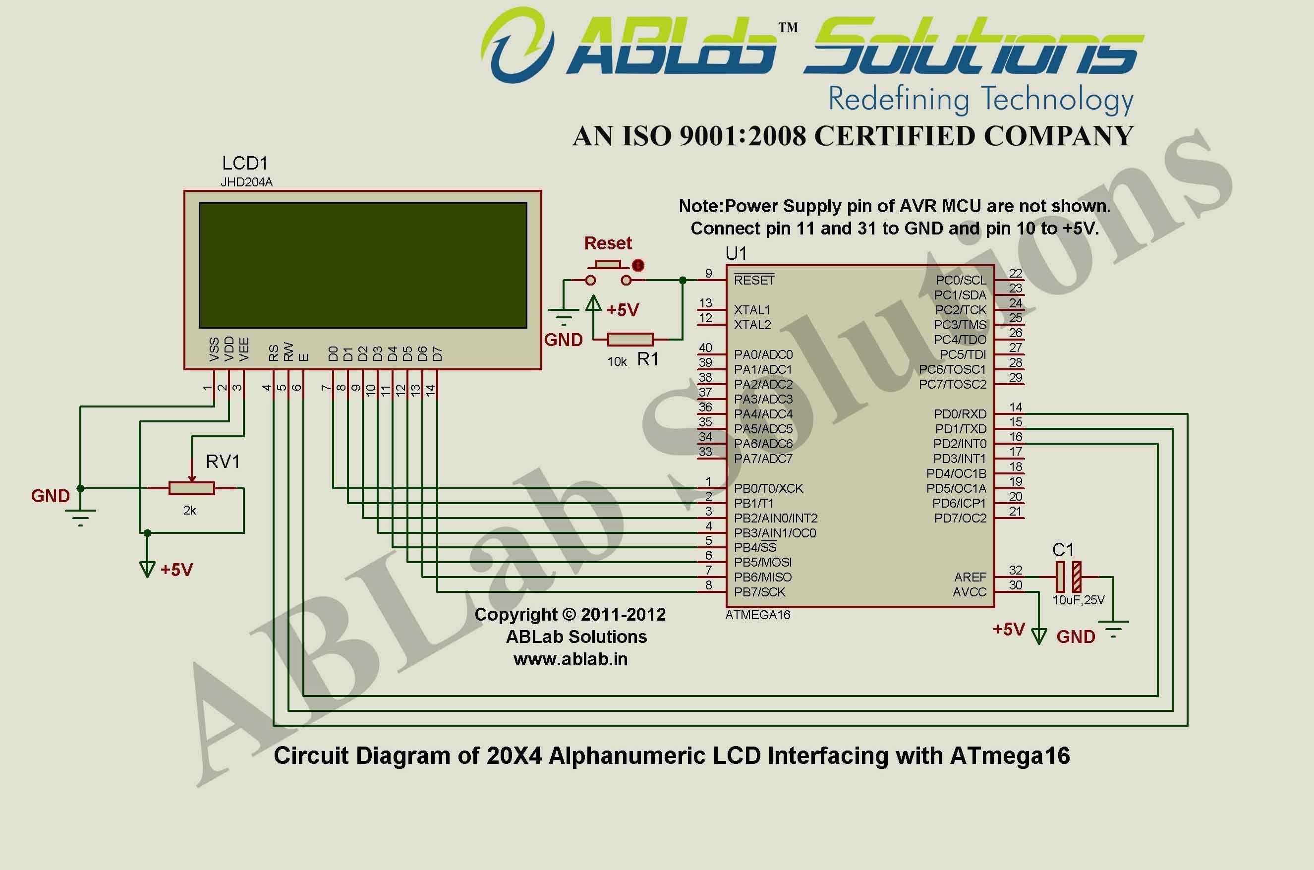 20x4 Alphanumeric Lcd Interfacing With Avr Atmega16 Microcontroller Microcontrollers Circuit Diagram Interfacing
