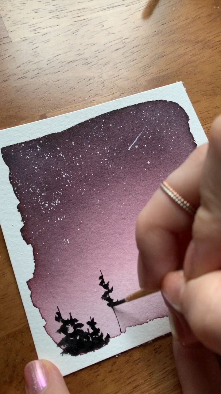 Watercolor night sky tutorial #watercolorart