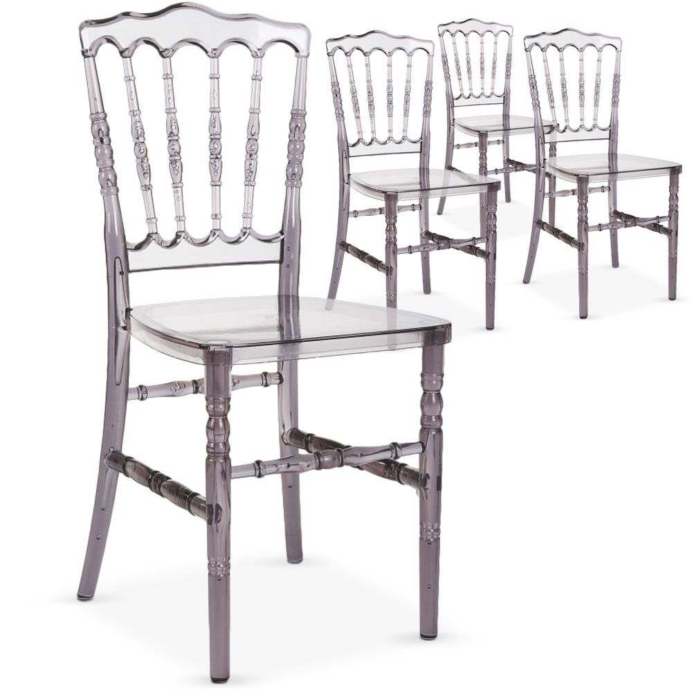 Lot de 6 chaises Napoleon PVC Transparent Fumé  Chaise de salle à