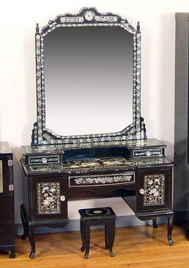 KOREAN MOTHER OF PEARL INLAID BLACK LACQUER VANITY WITH MIRROR: Lacquer  Vanity With Drawers,