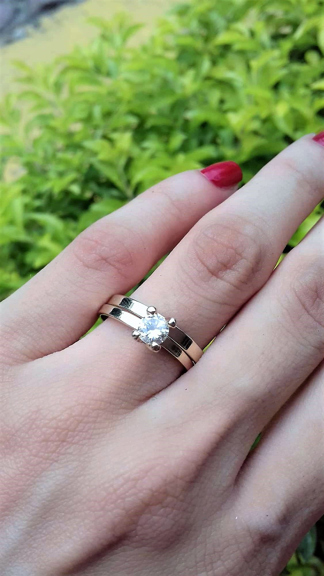 Anillo solitario con Diamante Natural y banda de matrimonio ...