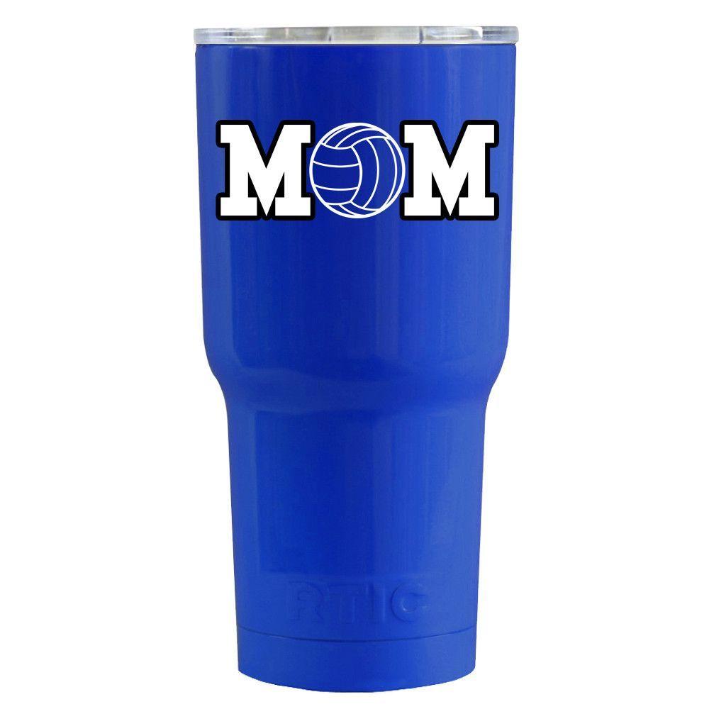RTIC Volleyball Mom Blue Gloss 20 oz Tumbler