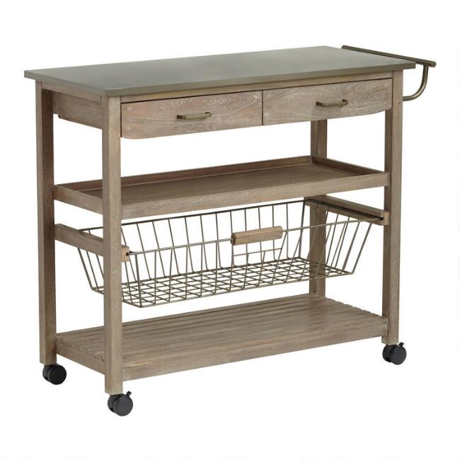 Mango Wood And Steel Maximos Kitchen Cart With Images Kitchen Cart Kitchen Furniture Design Kitchen Remodel
