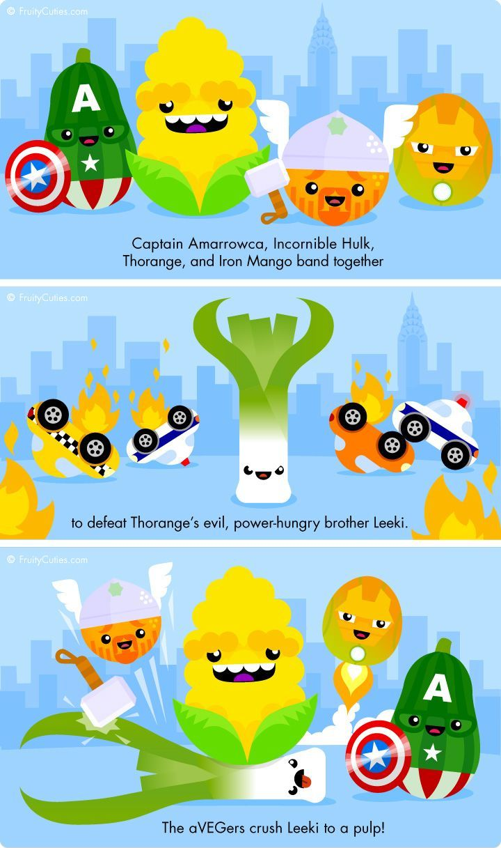The Avegers Assemble - Cute jokes with Kawaii Fruit and ...