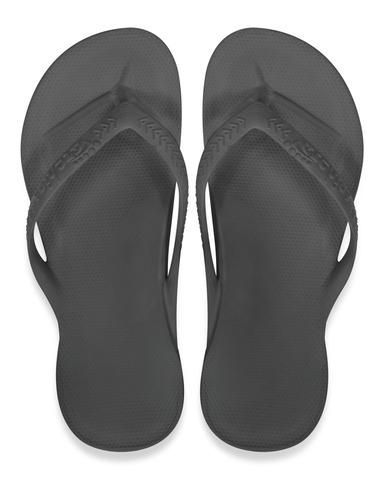 3ef3729f1 Archies Arch Support Thongs – Flip Flops – Orthotic Sandals – Black Single  Colour top down view (birds eye)
