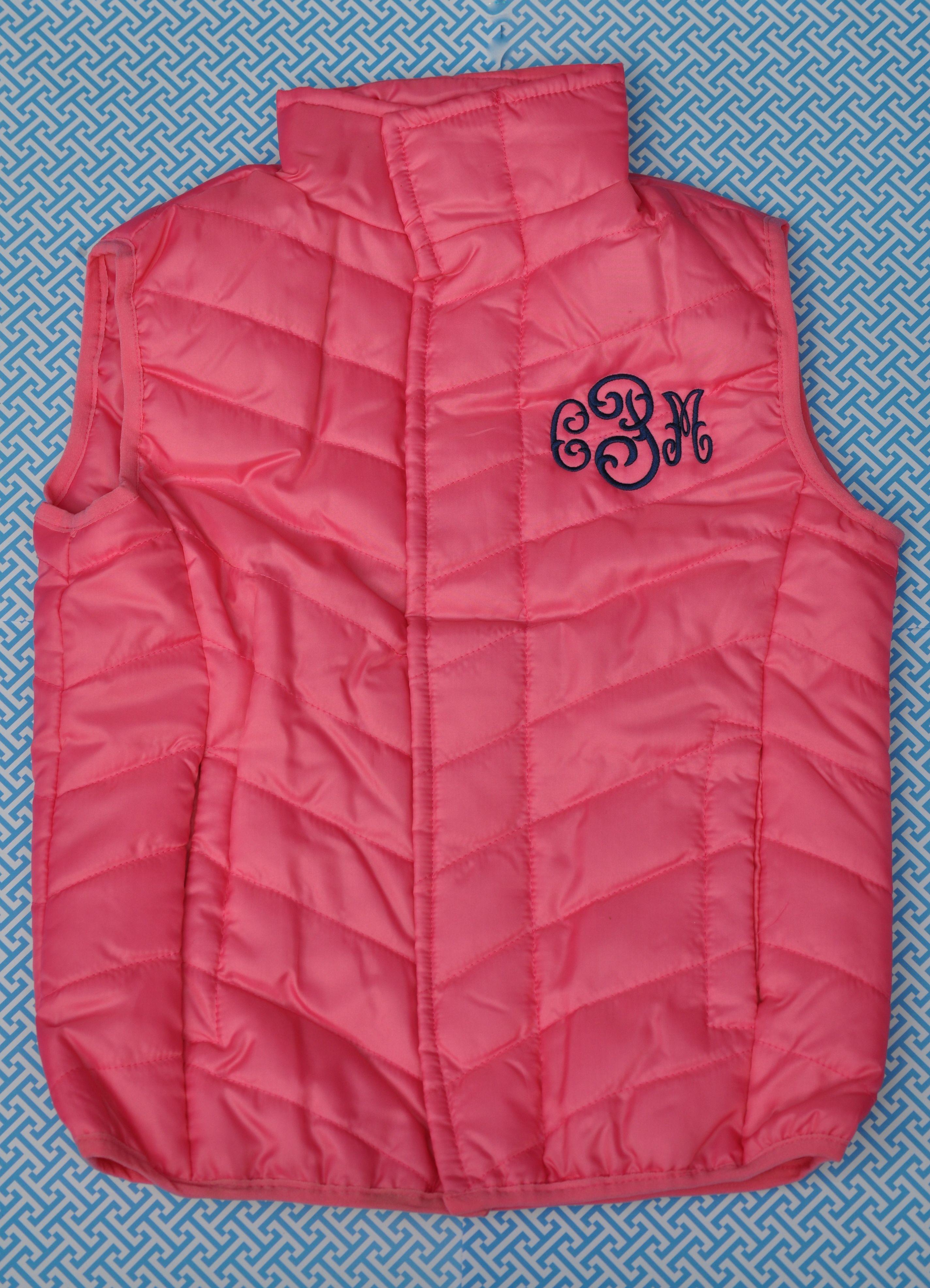 2T- 6/7 Girls monogram vest #kids #outerwear #monogrameverything @magnamini