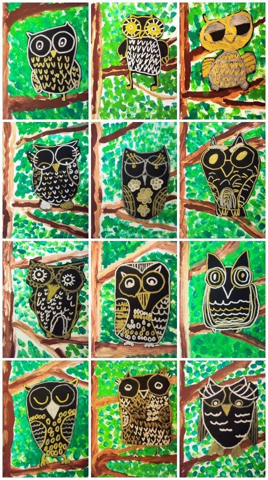 Start met het ontwerpen van de achtergrond en de boom. Blaadjes toevoegen m.b.v. vingertoppen.Laat kinderen oefenen in het tekenen van uilen voordat ze proberen een uil toe te voegen in hun werk.