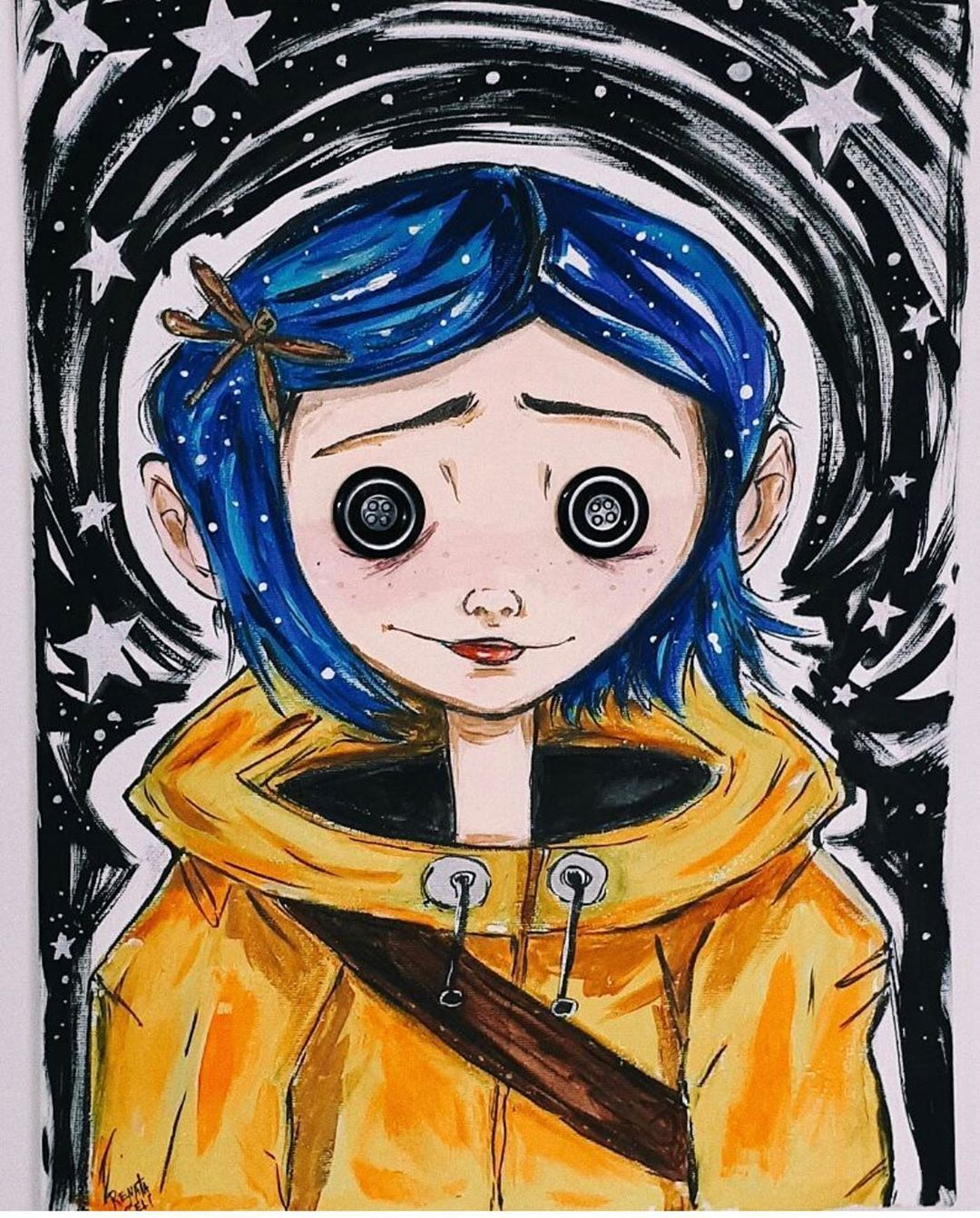 I Painted This Canvas Two Years Ago And I Just Realized Today That It S Not So B Drawings Coraline Art Coraline Drawing Art