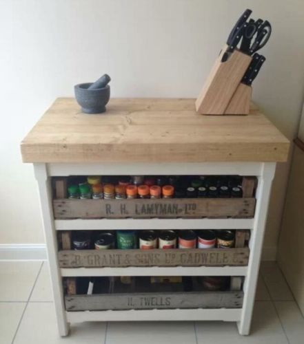 rustic chunky pine freestanding kitchen island handmade butchers