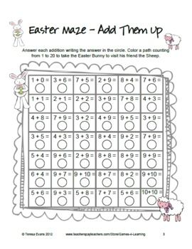 4 Easter Math Mazes From Games 4 Learning Freebie Easter Math Easter Math Activities Easter Math Worksheets