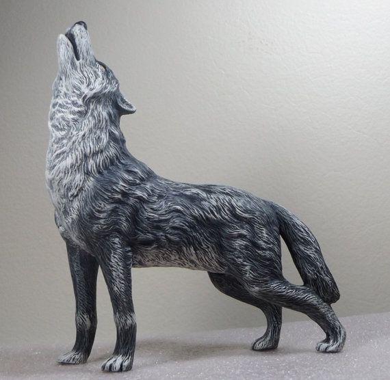 Wolf Ceramic Wolf Standing Wolf Hand Painted Wolf