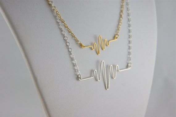 Heartbeat EKG Necklaces! Silver Plated, Gold Plated, Sterling Silver Filled, and 24k Gold Filled Available #giftgivingseason #recoveryROCKS