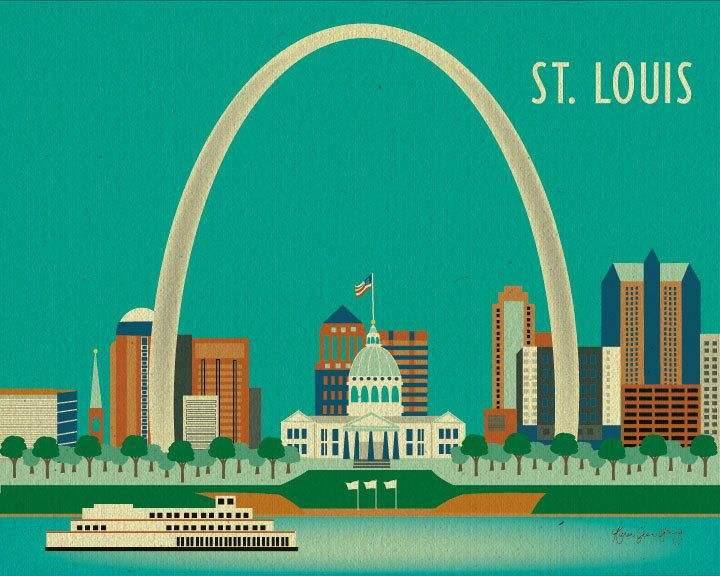 St Louis Skyline Art Print St Louis Wall Art St Louis Ach St