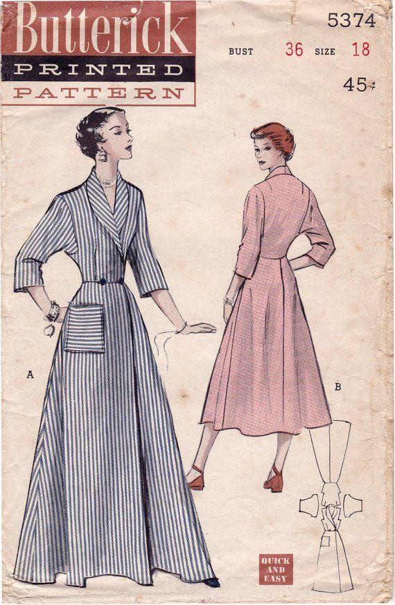 Rare 1950s Butterick 5374 Vintage Wrap Around Robe Pattern