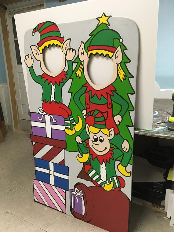 Christmas Stand In Cutouts.Elves Wooden Photo Booth Prop Face In Hole Photo Op Stand