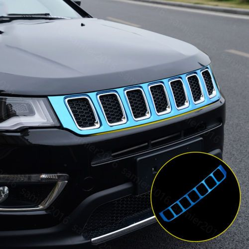 Blue Stainless Fit For Jeep Compass 2017 Front Upper Grille Grill Cover Trim Net Affiliate Interior Accessories Jeep Compass Grill Cover