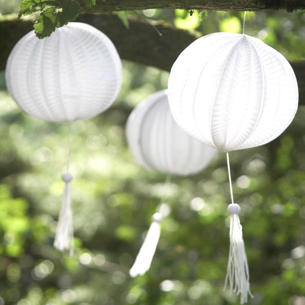 Paper lanterns wedding decoration ideas  Mini Paper Lanterns are a great touch for when the sun goes down