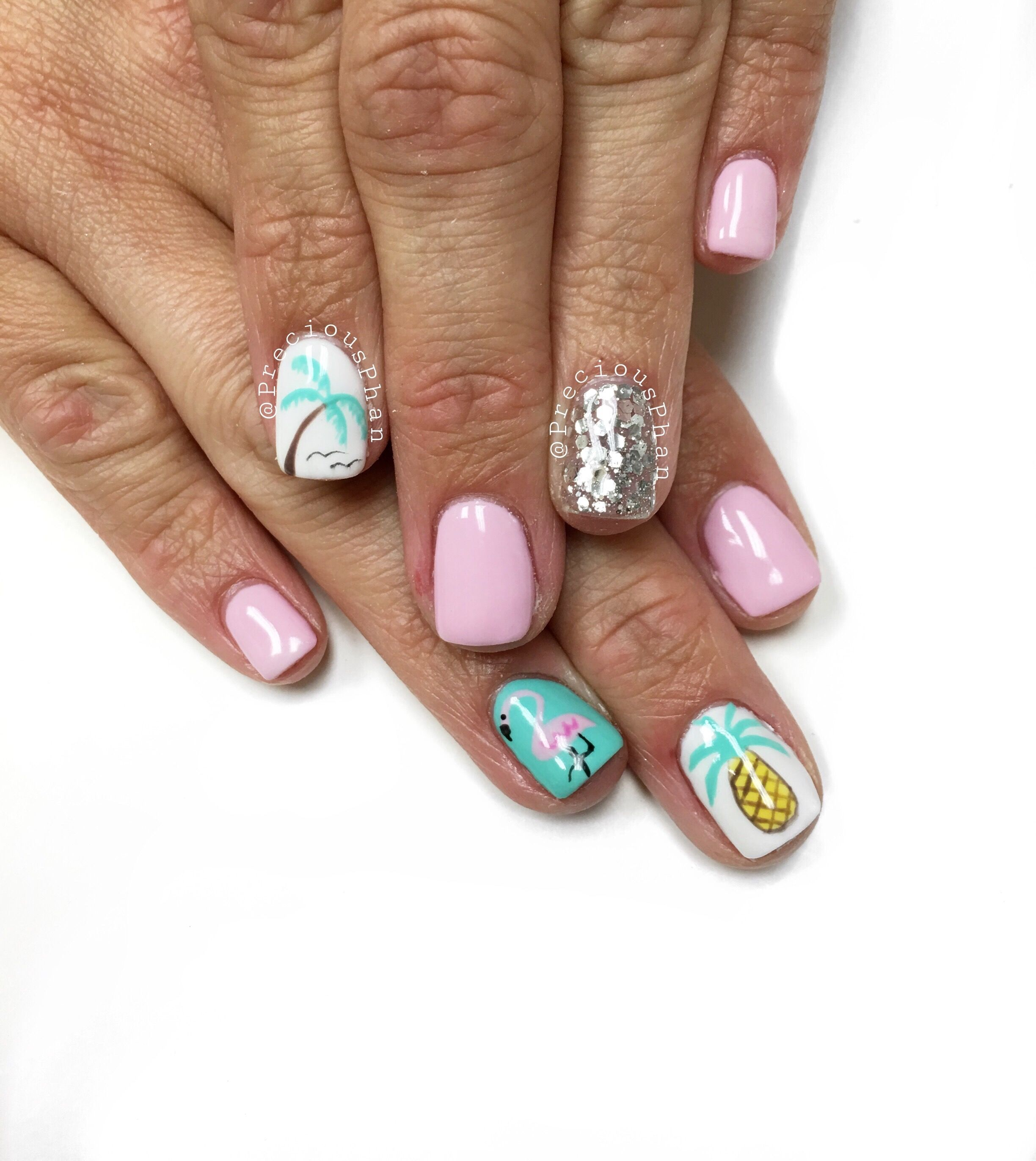 Summer nails. Beach nails. Vacation nails. Palm trees. Pineapple ...