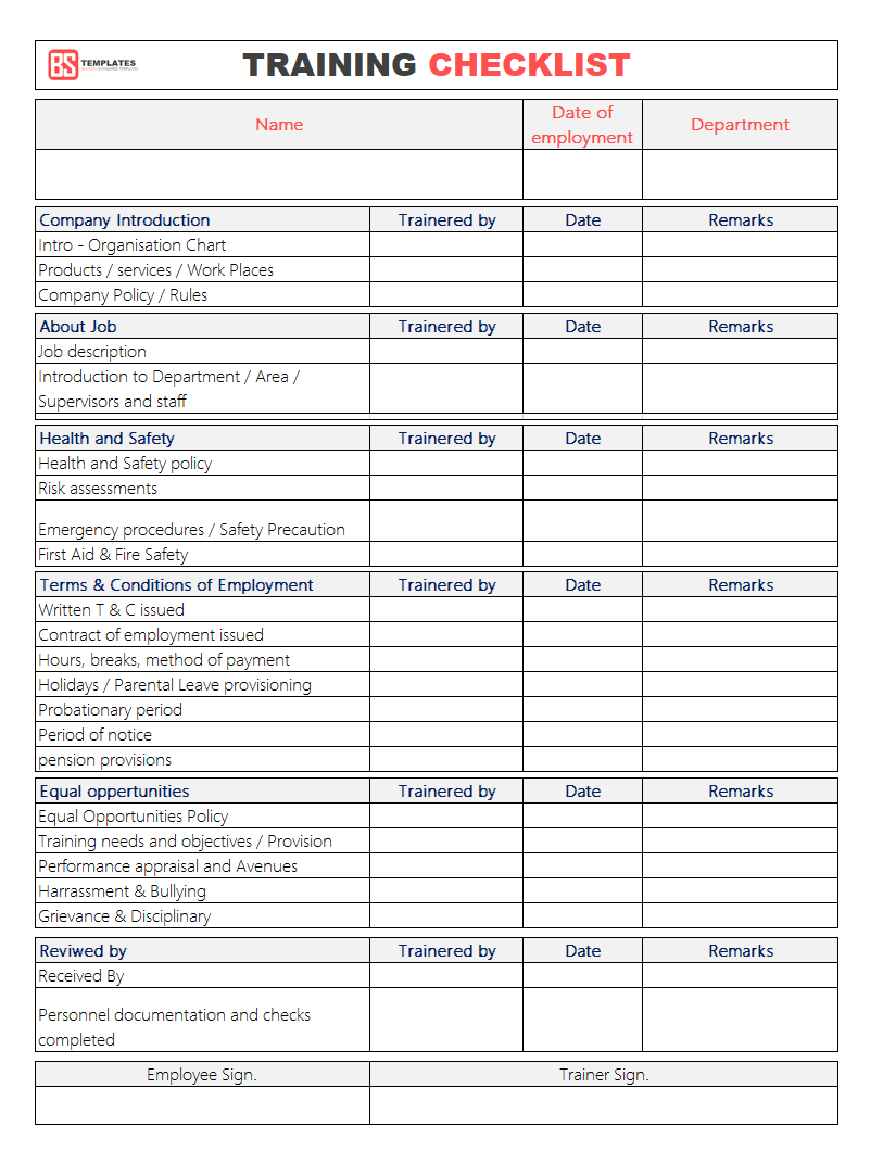 Training Checklist Template Employee Training Checklist Template For Excel Word Employee Training Checklist Template Safety Training