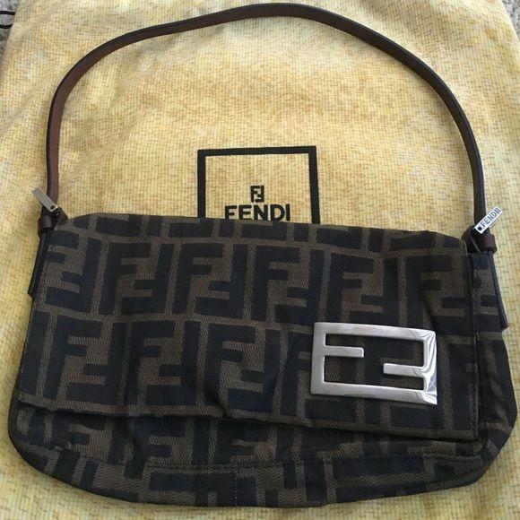Authentic Fendi, shoulder bag Zucca canvas, monogram, leather straps FENDI Bags Shoulder Bags