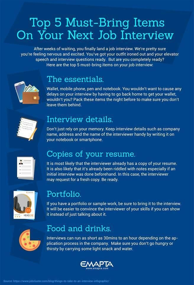 The Emapta Job Interview Checklist Infographic Here Are 5 Must Have Items Every Well Prepared Jobseeker Should Bring To An Inte Job Interview Job Job Opening