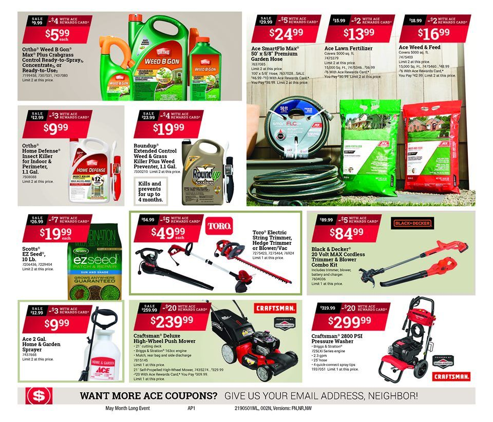 Mays red hot buys lawn fertilizer ace hardware flyer