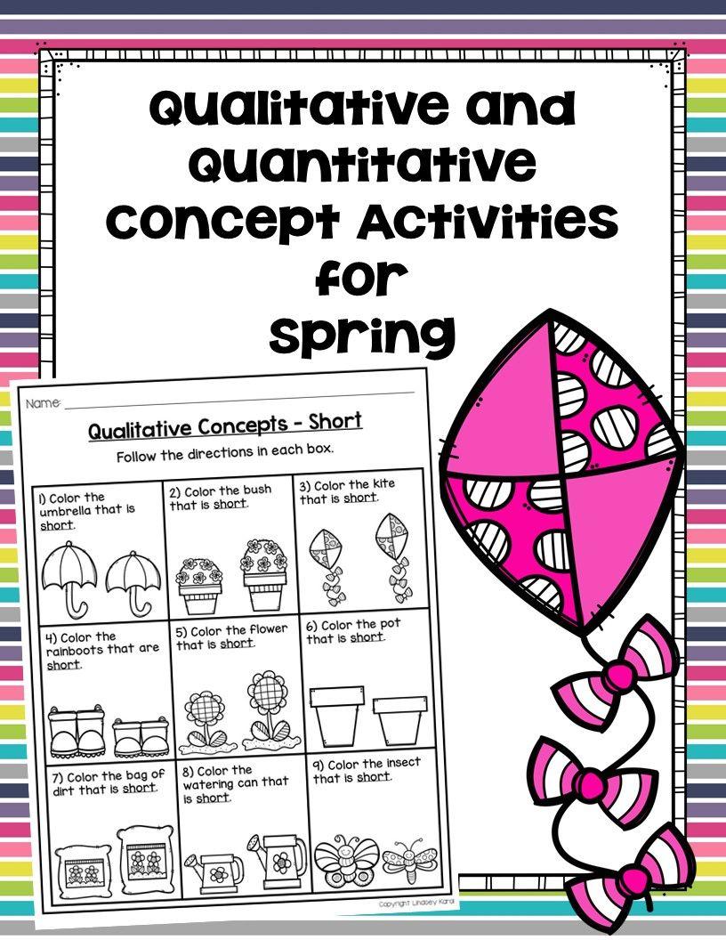 Qualitative And Quantitative Concept Activities For Spring Targets 9 Qualitative Letter Worksheets For Preschool Preschool Worksheets Word Problem Worksheets [ 1056 x 816 Pixel ]