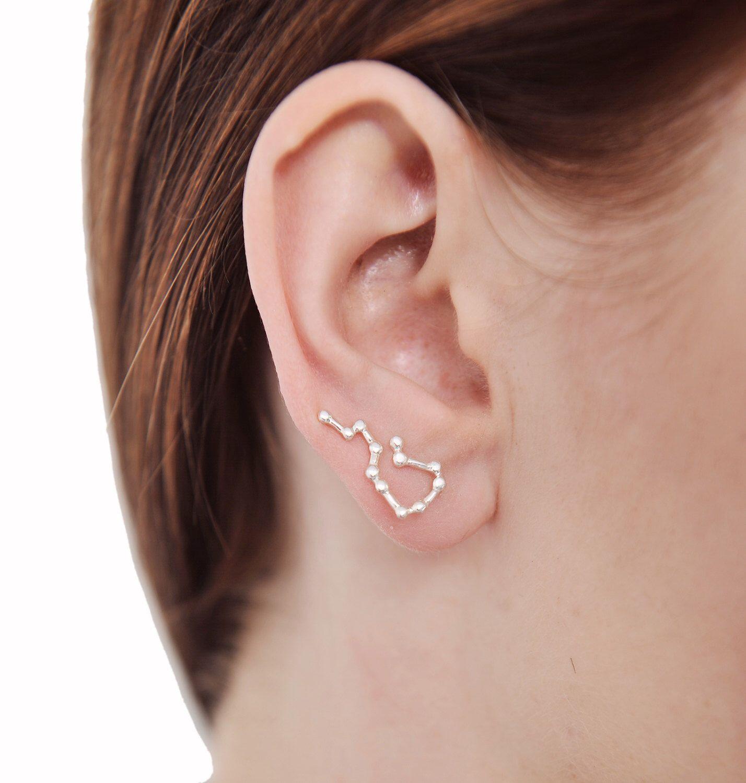 Aquarius star Ear Crawler earrings Ear climber constellation ...