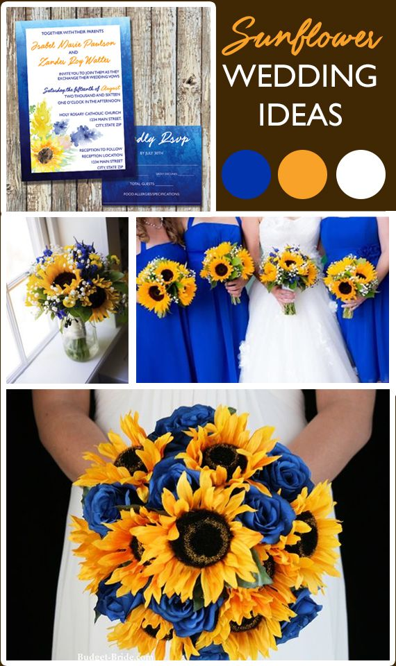 sunflower wedding invitations printable%0A Sunflower Wedding Ideas  Loving this Summer Theme with Royal Blue and  Sunflowers