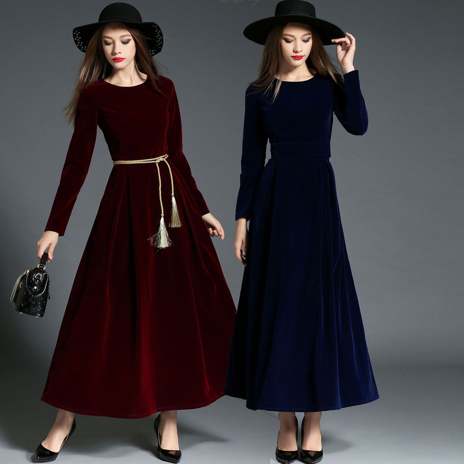 autumn winter formal retro long sleeve velvet evening party