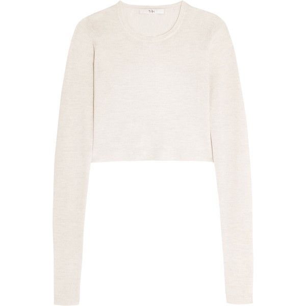 Tibi Cropped open-back ribbed merino wool sweater ($160) ❤ liked on Polyvore