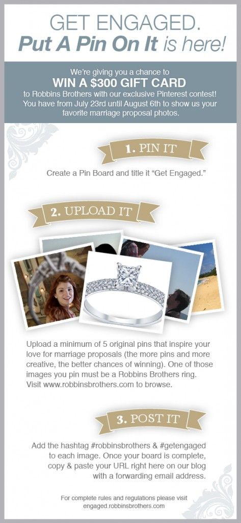 Pin your favorite marriage proposal inspiration photos to win a Robbins Brothers gift card