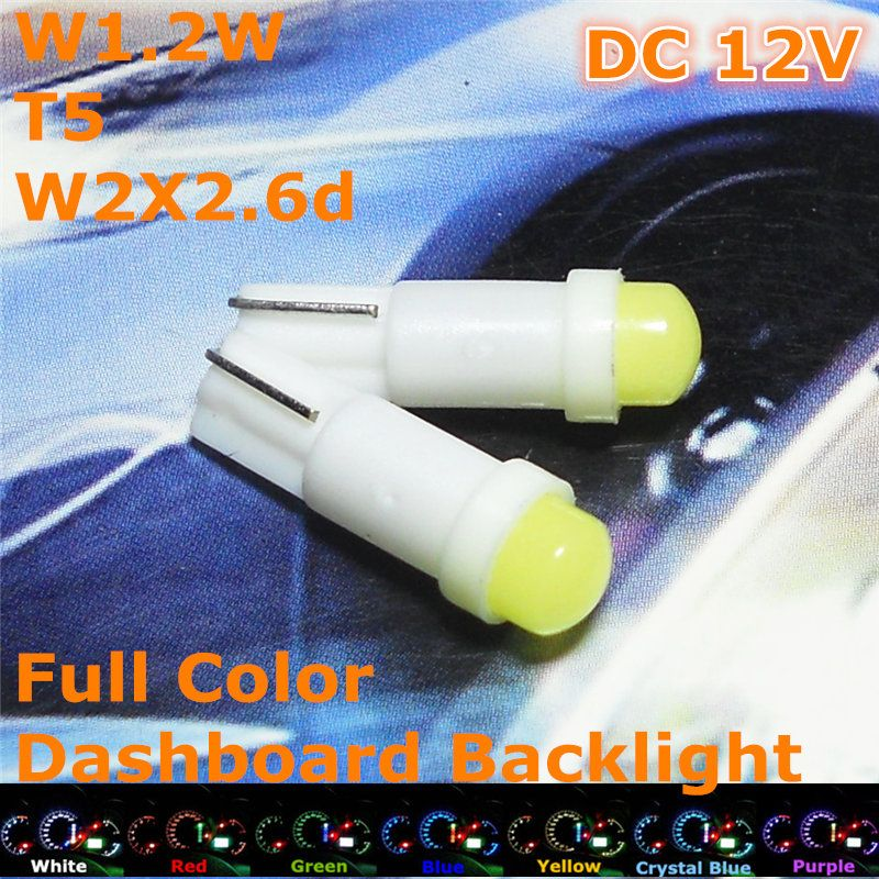 Stock Shipping New 12v Ce Led Car Bulb T5 Fluorescent Lamp W1 2w W2 3w W2x2 6d For Dashboard Signal Ashtray Light Fluorescent Lamp Car Bulbs Car Lights