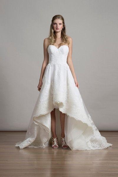 High Low Wedding Dress Idea Lace Wedding Dress With Strapless Sweetheart Neckline Alencon Lace Wedding Dress Wedding Dresses High Low Wedding Dress Size 10