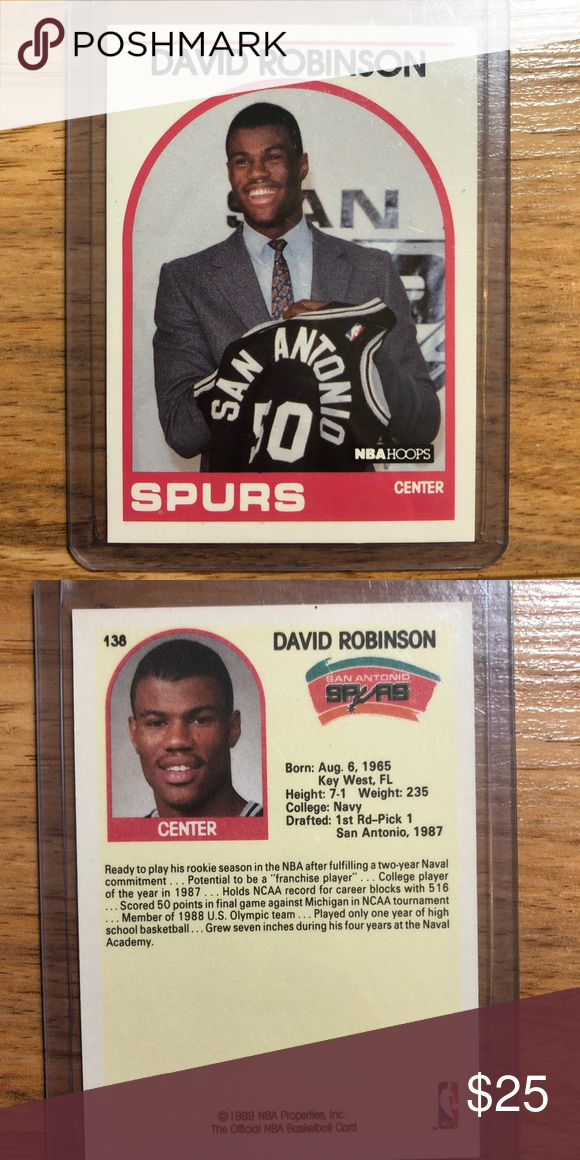 David Robinson Rookie Card Nba Hoops Basketball Sa