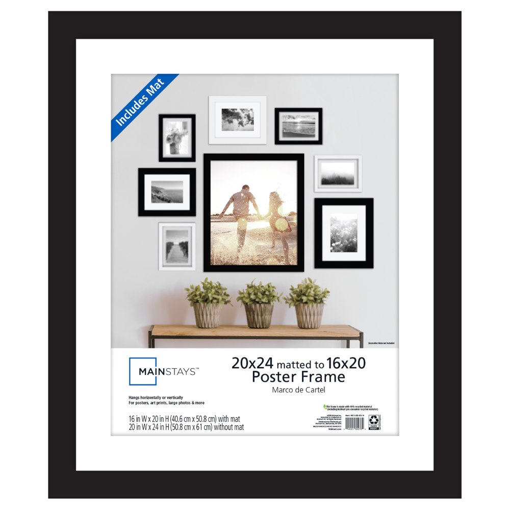 Mainstays 20 X 24 Matted To 16 X 20 Wide Black Poster And Picture Frame Walmart Com In 2020 Frame Picture Frames Picture Frame Wall