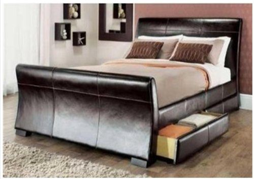 4ft 6in double leather sleigh bed dark brown with storage 4 x drawers by Layzze Limitless & 4ft 6in double leather sleigh bed dark brown with storage 4 x ...