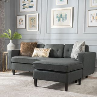 Odessa Waffle Suede Reversible Sectional Sofa With Ottoman Mid