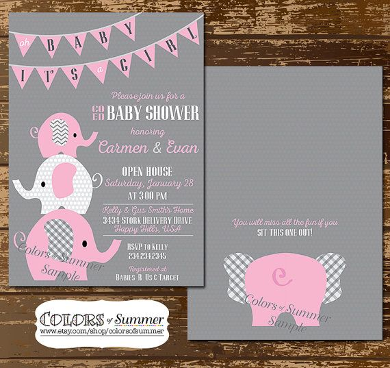 adorable elephant invitation for a baby shower itu0027s a girl pink elephant baby shower