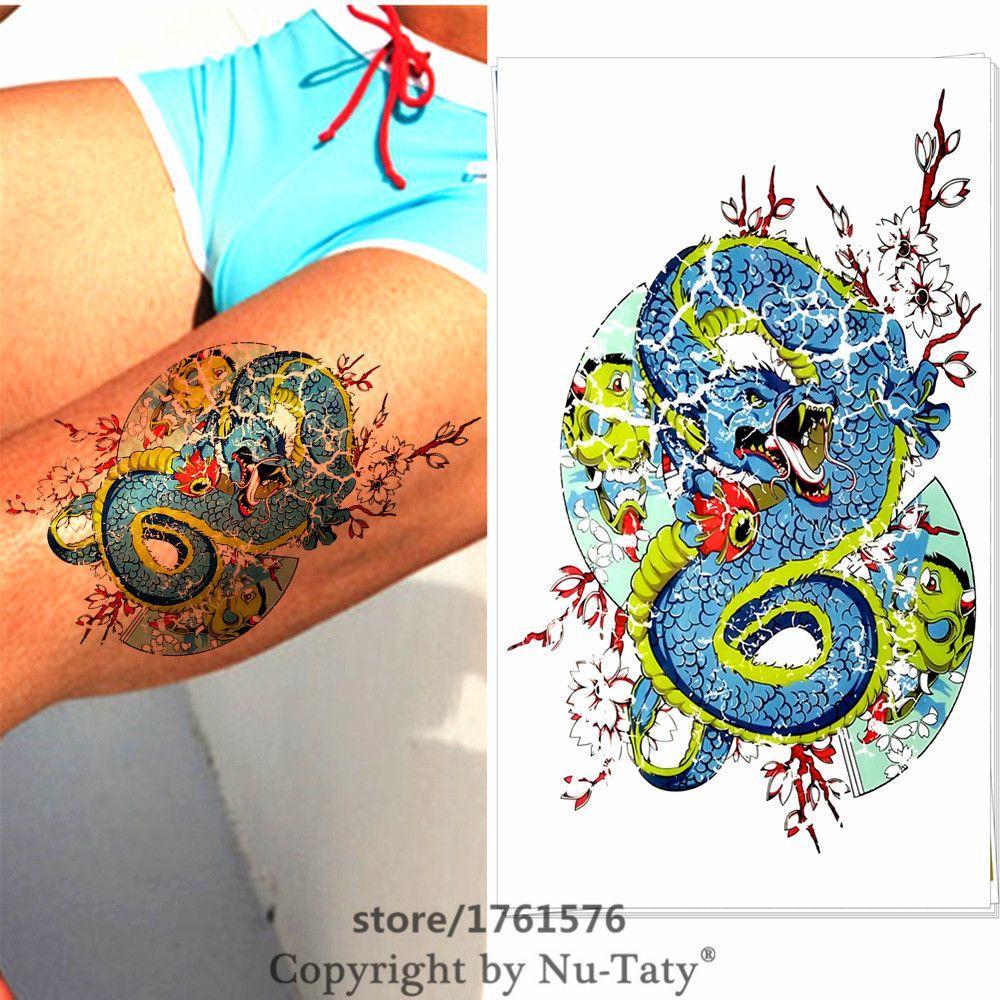 Mtheory flash tatoos body art blue dragon temporary tattoos