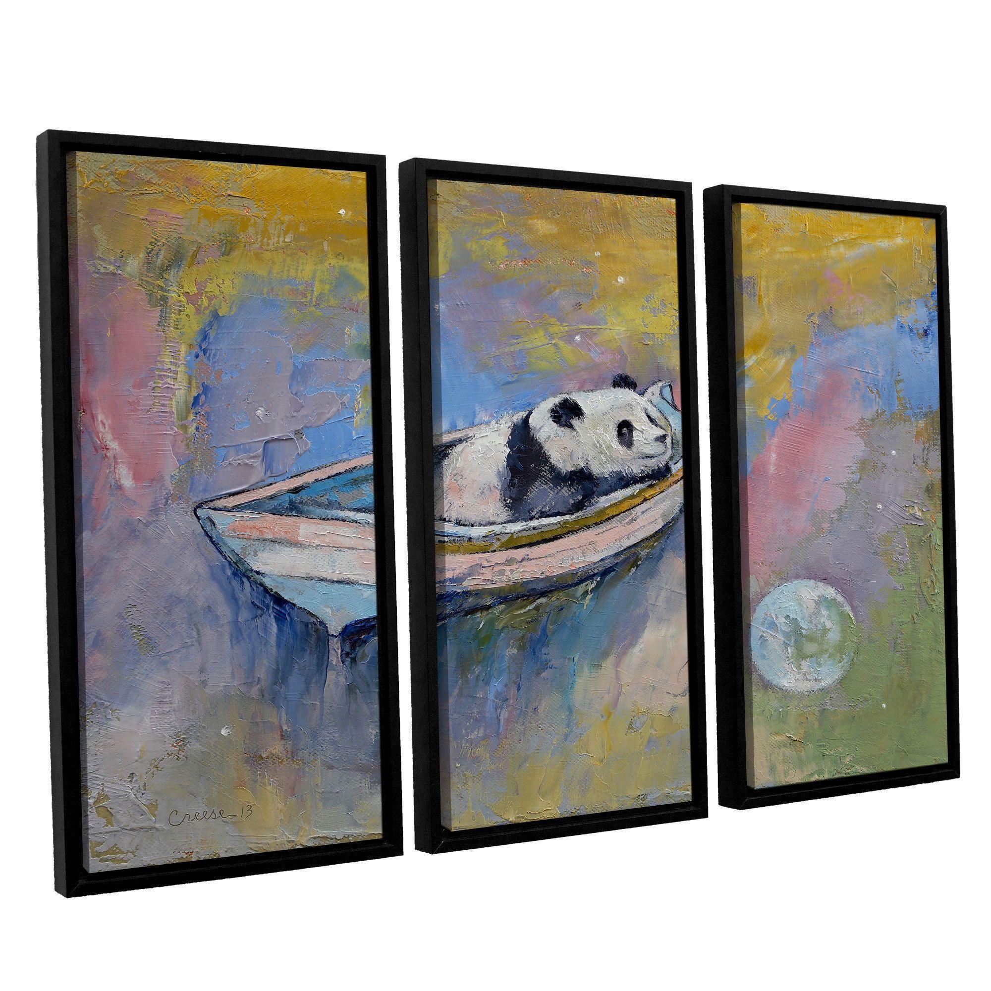 ArtWall \'Michael Creese\'s Panda Moon\' 3-piece Floater Framed Canvas ...