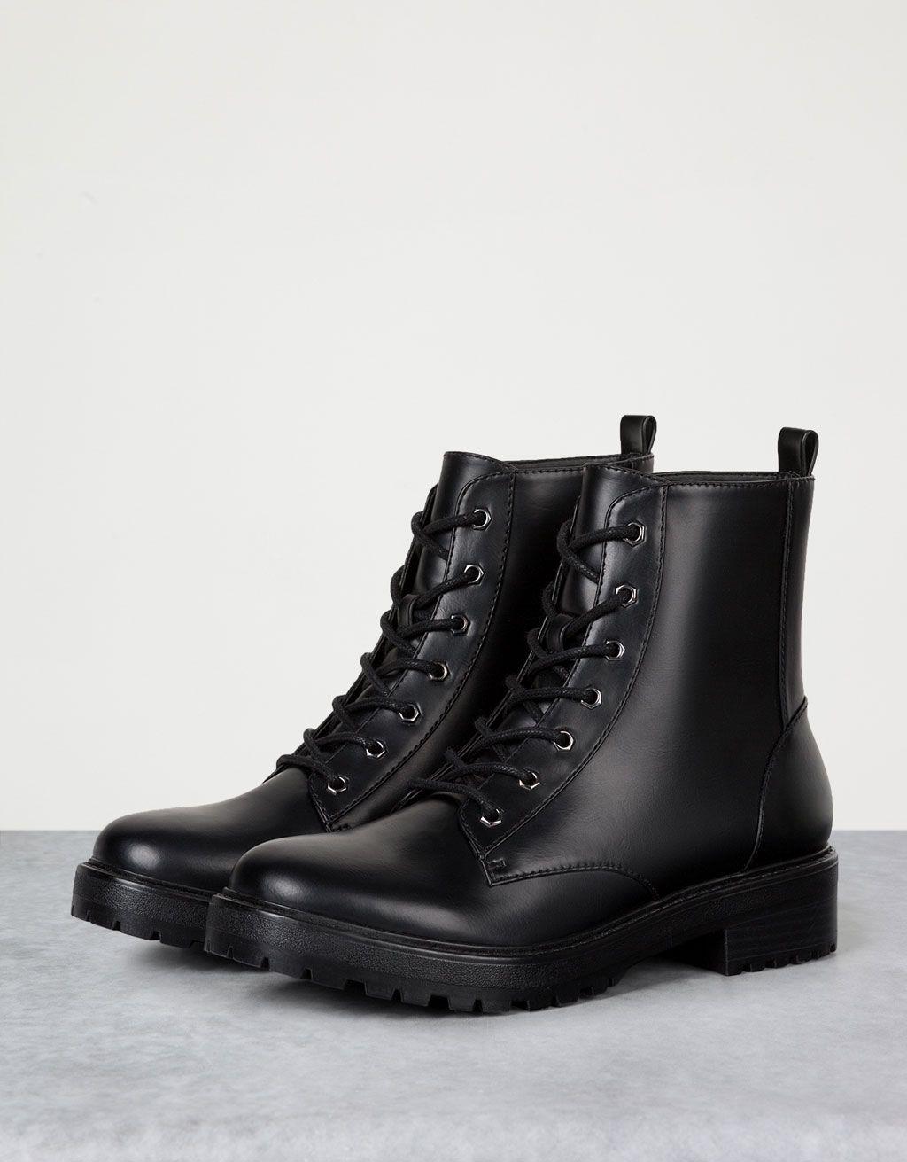 66e5dd50 Basic flat, lace-up ankle boots - View All - Bershka United Arab Emirates