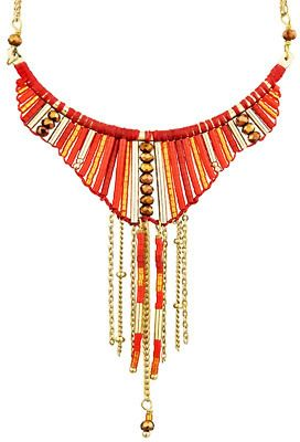 Satellite Bijoux Collier plastron Patchanga, dorure à l'or fin, rouge sur shopstyle.fr