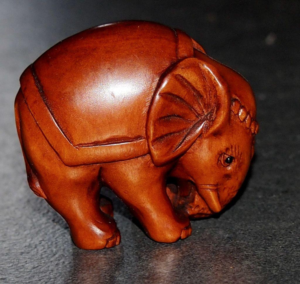 #Netsuke Hand Carved #Wood #Figurine Asian #Elephant Japan Signed #shopifypicks