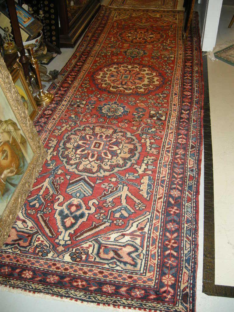 Serape Style Old Heriz Persian Oriental Rug Runner Carpet