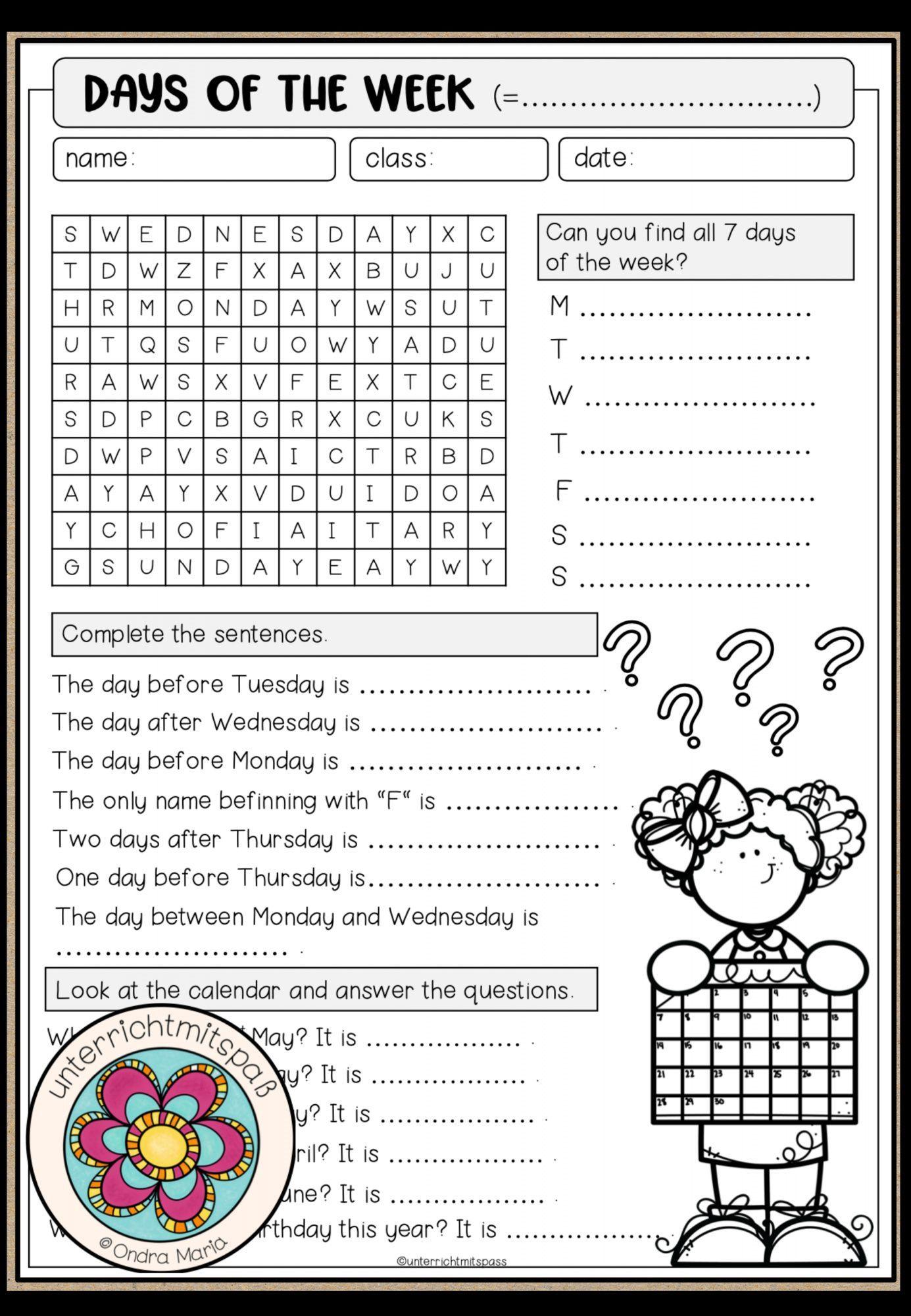 Days of the week   Worksheet – Unterrichtsmaterial im Fach ...