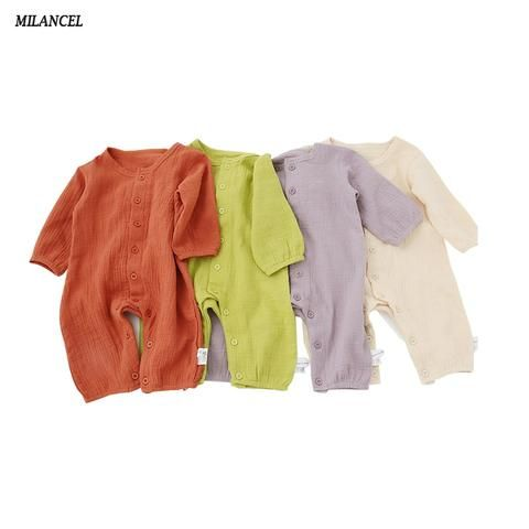40d2fe7e5288 Milancel Infant Baby Rompers Autumn Clothes Newborn Baby Boys Girls Romper  Cotton Jumpsuit Solid Baby Outerwear