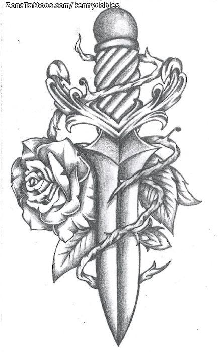 Diseno De Dagas Armas Rosas Zonatattoos Com Dibujos Romanticos A Lapiz Dibujos A Lapiz Rosas Como Dibujar Rosas